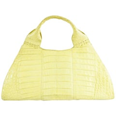 Nancy Gonzalez Yellow Crocodile Top Handle Bag