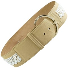 Oscar de la Renta Beige Leather and Canvas Wide Belt with white beading