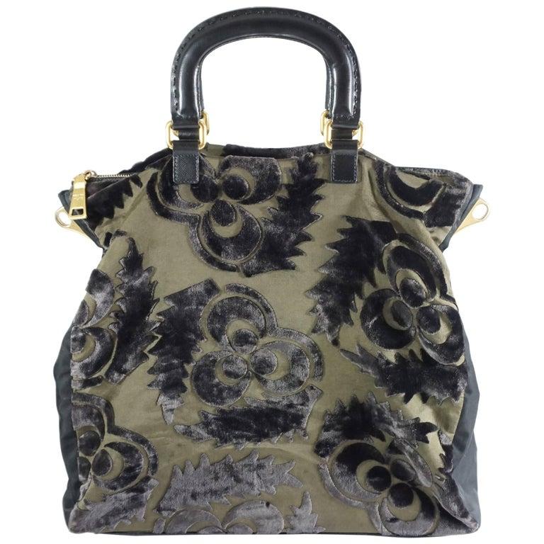 Prada Olive and Black Cut Velvet Bag  For Sale
