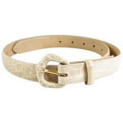 Lana Marks Nude Alligator Belt - M