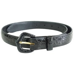 Lana Marks Black Alligator Belt - M