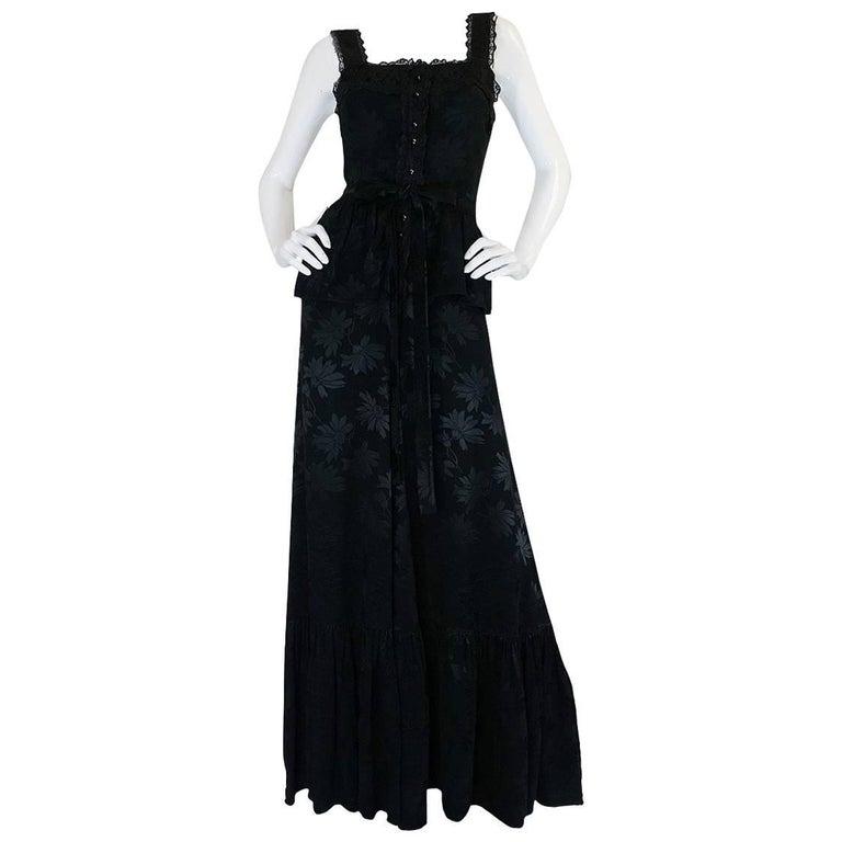 c1971 Rare Mary Quant Black on Black Floral Silk Halter Smock Dress
