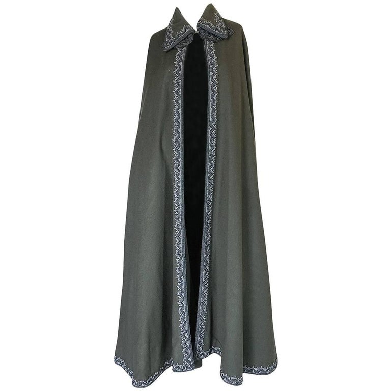 Wonderful 1970s Braided Edge Grey Full Length Wool Cape