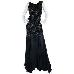 1980s Genny Backless Black Silk Dress w Silver Thread Detailing
