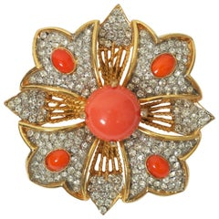 KJL Rhinestone and Coral Brooch