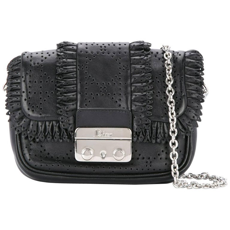 Christian Dior Black Leather Silver Chain Evening Crossbody Shoulder Flap Bag