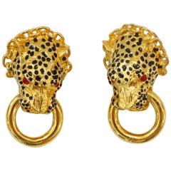 1989 Franklin Mint The Duchess Of Windsor Panther Knocker Earrings