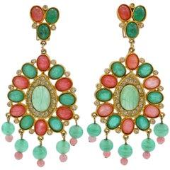 Stunning 1960s Magda Glass Chandelier Earrings