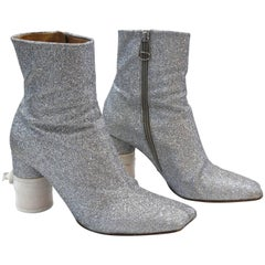 Coveted Maison Martin Margiela Silver Glitter Heeled Boots