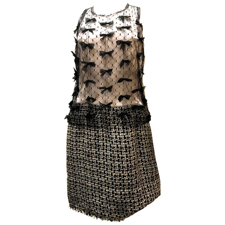 Chanel Silk and Boucle Dress w/ Sheer Overlay