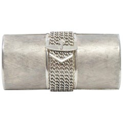 Rodo 1980s Silver Clutch with Buckle