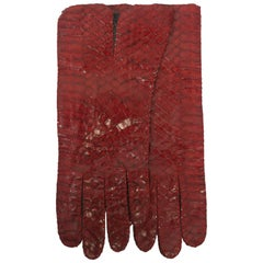 Red Snakeskin Gloves