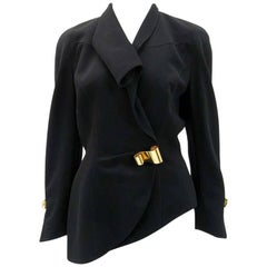 Thierry Mugler Black Asymmetrical Folded Collar Jacket