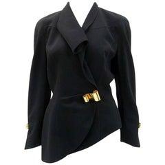 Thierry Mugler Black Asymmetrical Folded Collar Jacket