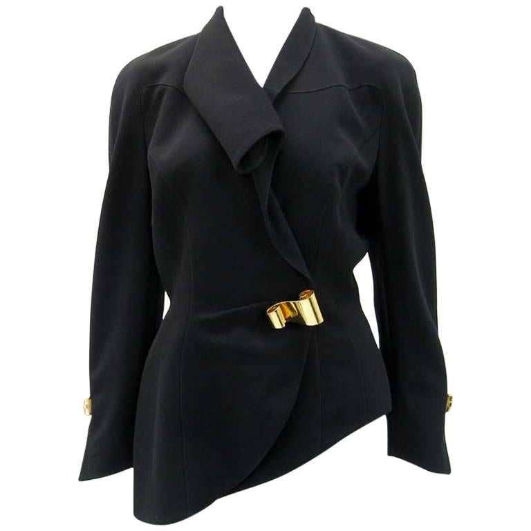 Thierry Mugler Black Asymmetrical Folded Collar Jacket For Sale