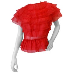 1980s Joy Stevens Sheer Ruffled Blouse in Lipstick Red