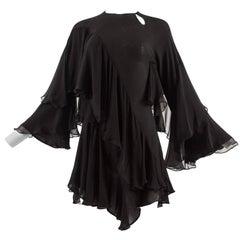 Tom Ford for Gucci Autumn-Winter 1999 black silk georgette bias cut mini dress