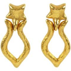 Rare Alexis Lahellec Paris Signed Clip on Earrings Gilt Metal Door Knocker