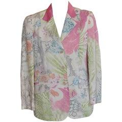 Etro Linen Paisley Floral Snakeskin Print Jacket 48 (Itl)