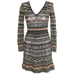 M Missoni Metallic Multi Hued Zigzag Dress (S)