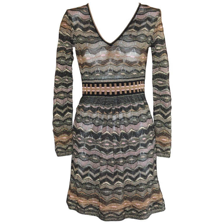 0d3485e1fd50 M Missoni Metallic Multi Hued Zigzag Dress (S) For Sale at 1stdibs
