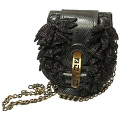 RARE 1990 Limited Edition Fendi Fold Over Chain Lizard Handbag