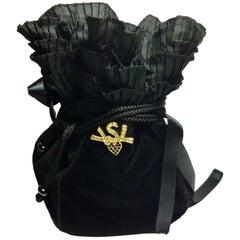 Yves Saint Laurent Vintage Black Velvet Satin Evening Bag