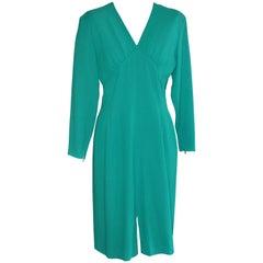 80s Guy Laroche Green Wool Dress (42 Fr)