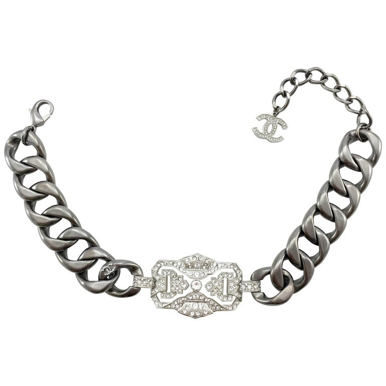 Chanel Runway Look Diamanté Embellished Gunmetal Coloured Chunky Chain Choker For Sale