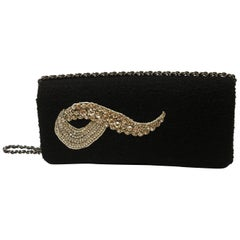 MAGNIFIC Chanel Black wool and crystal Evening Handbag