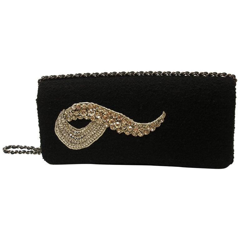 MAGNIFIC Chanel Black wool and crystal Evening Handbag