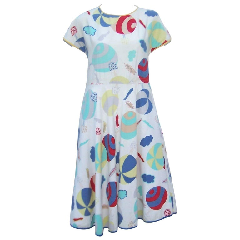 Whimsical 1970's Cotton Day Dress With Hot Air Balloon Logo Print
