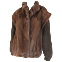 Mink Fur Jacket with Detachable Sleeves
