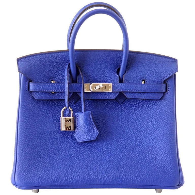 Hermes Birkin 25 Bag Rare Electric Blue Togo Palladium