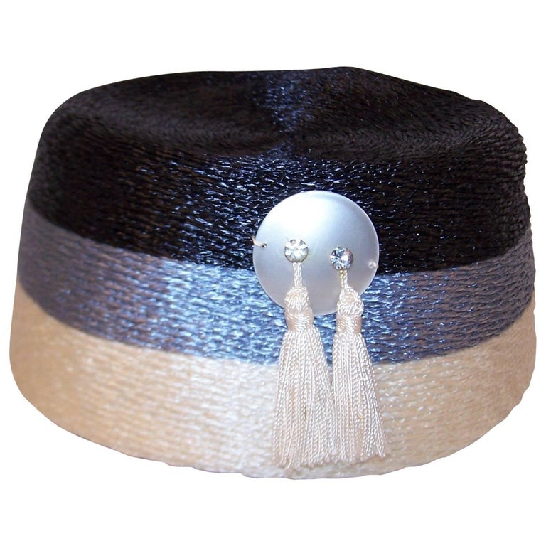 Stylish 1950's Evelyn Varon Blue Straw Hat With Tassels For Sale