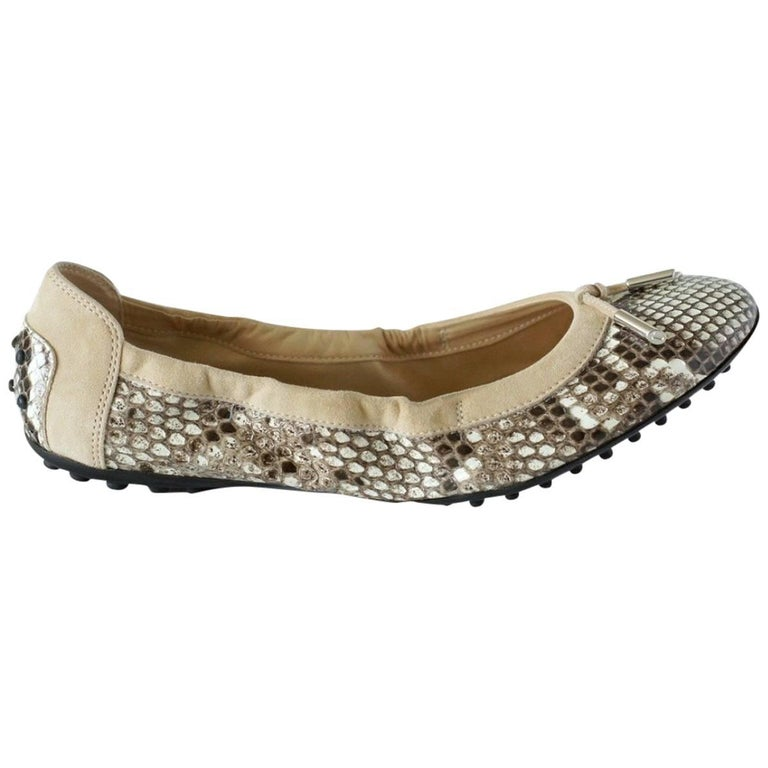 Tod's Shoe Taupe Snakeskin / Suede Driving Ballet Flat 38.5 / 8.5  New For Sale