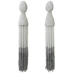 Oscar de la Renta New with Tags White and Silver Grey Tassel Earrings Clip On
