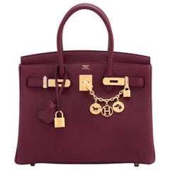 Hermes Bordeaux 30cm Birkin Togo Gold Hardware Wine Red A Stamp