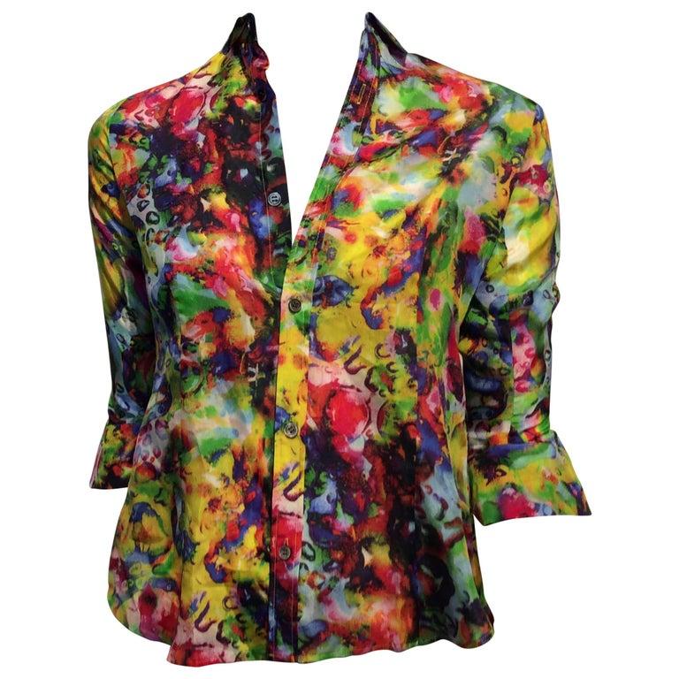 Yohji Yamamoto Silk Shirt With A Bright Abstract Print Sz S