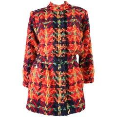 Yves Saint Laurent Multicolored Plaid Tweed Jacket