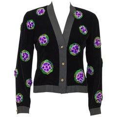 1990's Chanel Black Velvet Cardigan with Purple Floral Appliques