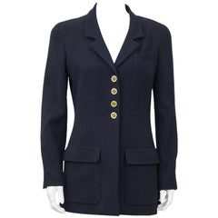 1990s Chanel Navy Blue Wool Blazer