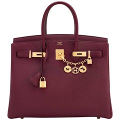 Hermes Bordeaux 35cm Birkin Togo Red Gold Hardware A Stamp Must for Fall