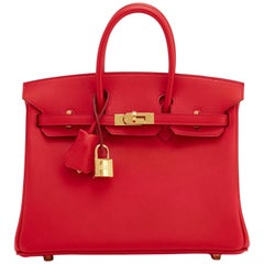 Hermes Vermillion Lipstick Red 25cm Swift Birkin Bag Gold Hardware Jewel