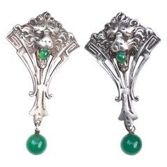 Art Deco Sterling Lion Earrings