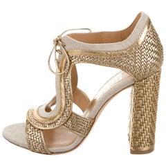 Salvatore Ferragamo New Tan Canvas Leather Tie Up Heels Sandals Booties in Box