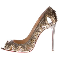 Christian Louboutin New Sold Out Gold Leather Stud Evening Heels Pumps in Box