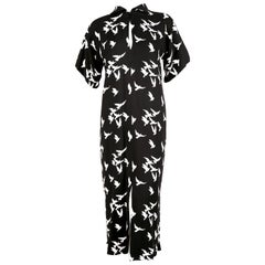 1978 YVES SAINT LAURENT black crepe dress with bird print