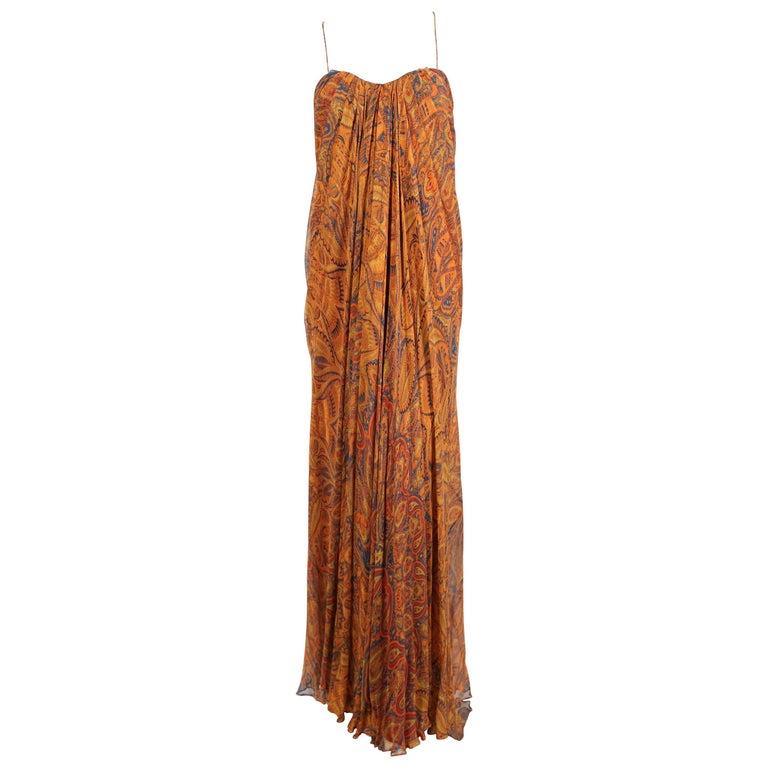 Alexander McQueen Unworn paisley silk chiffon strapless dress, 2009