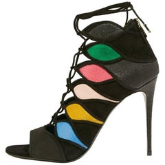 Salvatore Ferragamo New Multi Gladiator Heels Booties W/Box